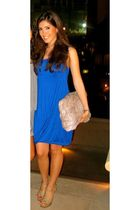 blue dress - beige YSL tribute sandals shoes - silver Zagliani accessories