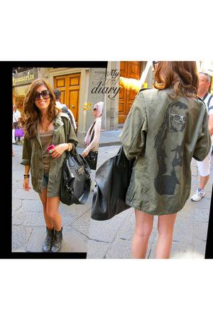 Cannes boutique jacket - hollister shorts - Givenchy bag - Kurt Geiger boots