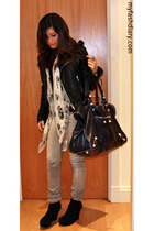 McQueen scarf - wedges shoes - balenciaga purse - biker jacket jacket