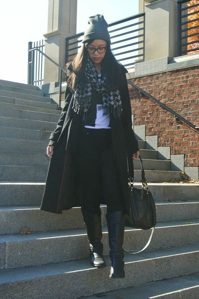 thrifted scarf - black Express coat - charcoal gray hat - thrifted t-shirt
