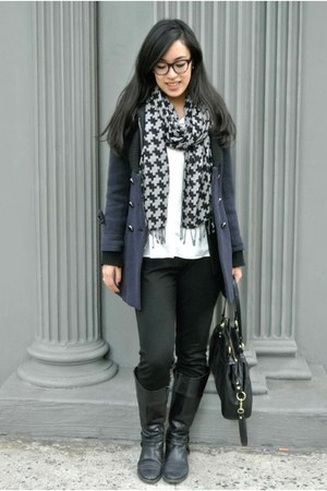 thrifted scarf - black Aldo boots - navy thrifted coat - white TJ Maxx blouse