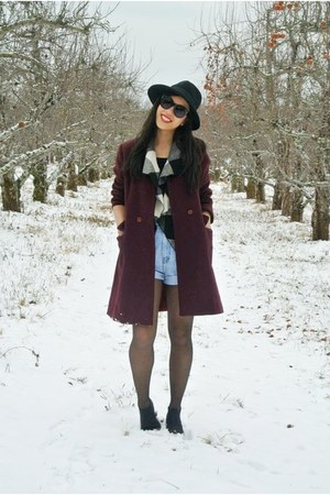 black boots - crimson thrifted vintage coat - black hat