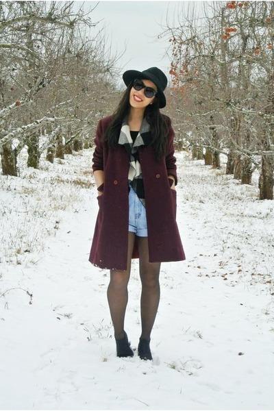 black boots - crimson thrifted vintage coat - black hat