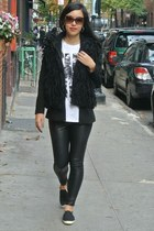 black faux leather leggings - black Forever 21 blazer - white thrifted shirt
