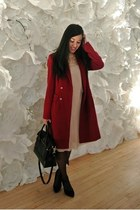 black Zara shoes - light pink Zara dress - red calvin klein coat