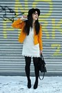White-lace-h-m-dress-black-hat-gold-thrifted-vintage-jacket-black-bag