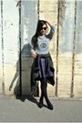 Gray-sweater-black-zara-heels-deep-purple-faux-leather-boutique-skirt