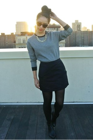 black DKNY skirt - black thrifted boots - black wowvintage sunglasses