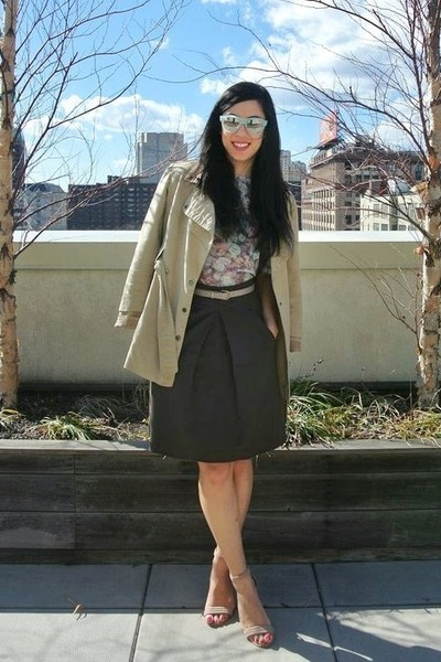 eggshell thrifted heels - tan TJ Maxx coat - light blue Forever 21 sunglasses