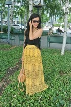 yellow printed Ladakh skirt - camel Nine West bag - Forever 21 sunglasses