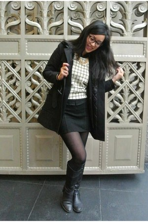 black Aldo boots - black Theory coat - liz claiborne sweater