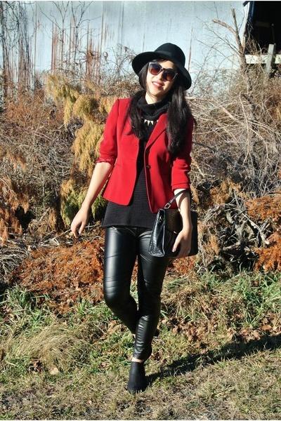 red thrifted blazer - black hat - black thrifted vintage sweater