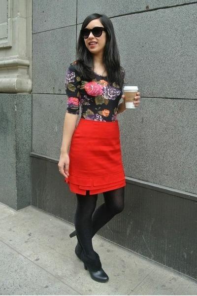 red thrifted vintage skirt - black calvin klein boots