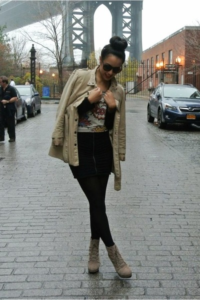 tan Urban Outfitters boots - tan TJ Maxx coat - unknown brand sweater