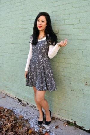 cream thrifted sweater - black Payless shoes - thrifted vintage dress