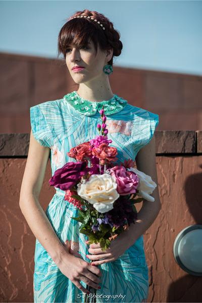 aquamarine tropical flower vintage dress - aquamarine Forever21 belt