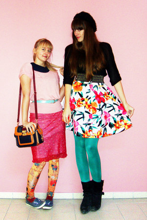 hot pink tropical H&amp;M skirt - red unknown skirt - orange klimt romwe leggings