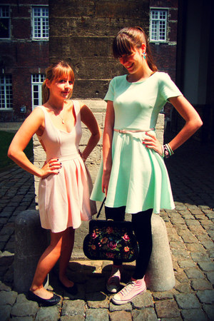 light pink Topshop dress - aquamarine H&M dress - bubble gum Converse shoes
