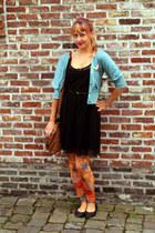 black lace Zara dress - orange klimt kiss romwe leggings