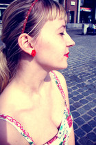 red lipstick Hema accessories - white rose H&M dress - red rose H&M earrings