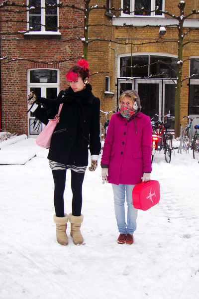 hot pink H&M coat - black H&M coat - beige Ugg boots - sky blue H&M jeans