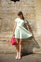 hot pink leather Depride bag - light pink Converse shoes - aquamarine H&M dress