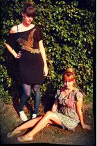 black Oasis dress - periwinkle new look dress - teal H&M tights