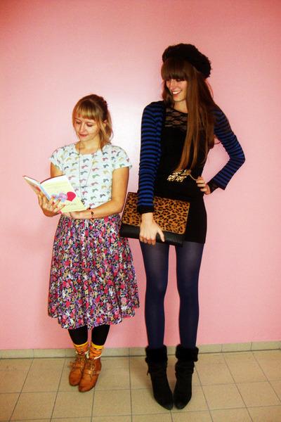 deep purple flower vintage skirt - tawny Van Dalen shoes - black lace H&M dress