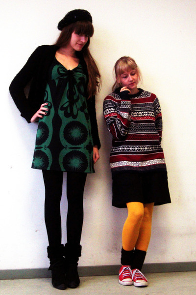 red H&amp;M sweater - black Diesel boots - green unknown brand dress