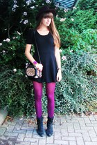 maroon unknown brand tights - black Diesel shoes - black unknown brand dress