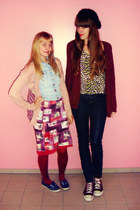 navy high waisted H&M jeans - ruby red H&M tights - yellow leopard print H&M top