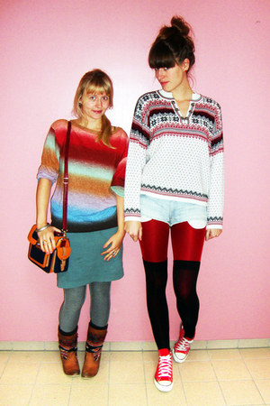 ruby red rainbow H&amp;M sweater - white vintage sweater - red Converse shoes