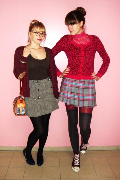 overknee H&M socks - H&M skirt - leopard print H&M cardigan - H&M cardigan