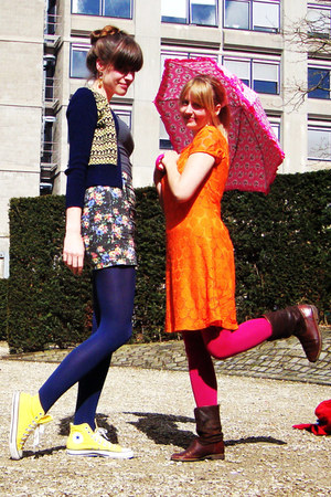 dark brown Sasha boots - carrot orange H&amp;M dress - hot pink H&amp;M tights
