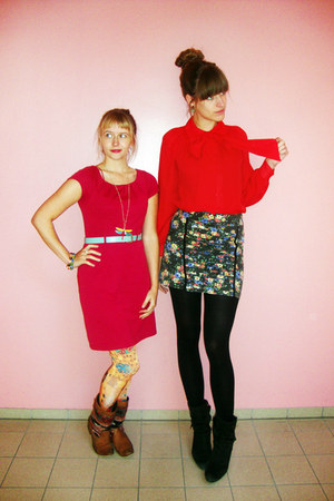 red vintage blouse - black Diesel shoes - maroon H&M dress