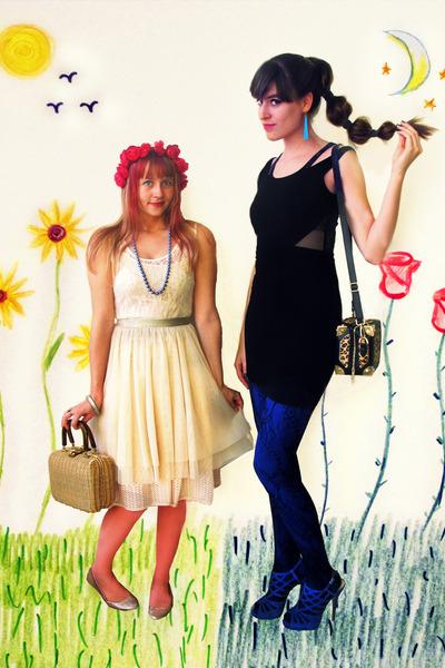 black cut-out H&M dress - cream lace Primark dress - tawny leopard Taobao purse