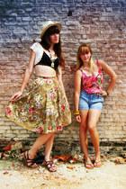 sky blue H&M shorts - black vintage bra - olive green floral print vintage skirt
