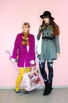 magenta H&M coat - heather gray c&a coat - black H&M hat