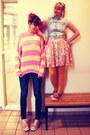 Bubble-gum-converse-shoes-salmon-rire-boutique-dress-navy-mexx-jeans