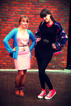 hot pink vintage cardigan - sky blue unknown cardigan - red Converse shoes