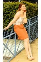 light orange orange thrifted vintage skirt - off white thrifted vintage top
