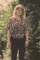 H&M blouse - black jeans calvin klein pants