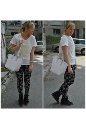 H&M leggings - H&M shirt - Zara bag - pullandbear sneakers - New Yorker bracelet