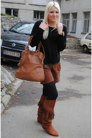 brown H&M boots - black Takko fashion sweater - brown Carpisa bag