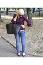 magenta Peacocks t-shirt - navy H&M jeans - black Zara bag