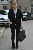 black Zara bag - black H&M t-shirt - black H&M pants