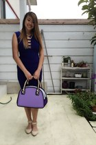 purple bag - blue dress - blue Ebay necklace - neutral flats