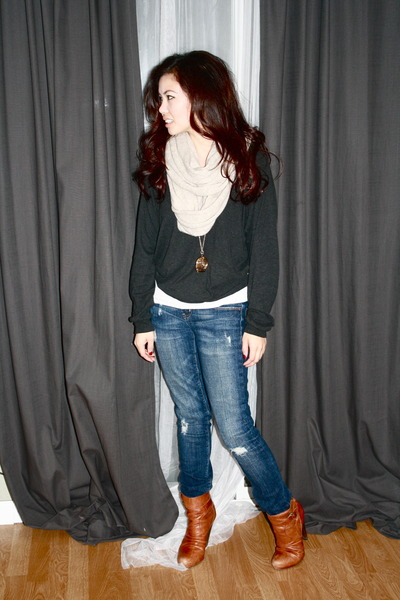 Steve Madden boots - Aritzia sweater - H&M scarf - American Apparel pants