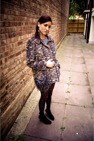 asos boots - agnes b coat - Oasis purse - Oasis earrings