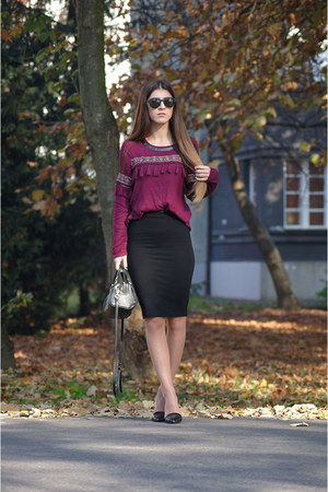 black Stradivarius bag - black Zara skirt - black Stradivarius heels